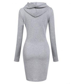 Femmes Mode Solide Couleur Pocket Long Hoodie - gris 2XL
