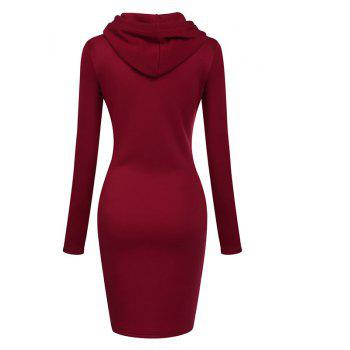 Women's Fashion Solid Color Pocket Long Hoodie - RED XL