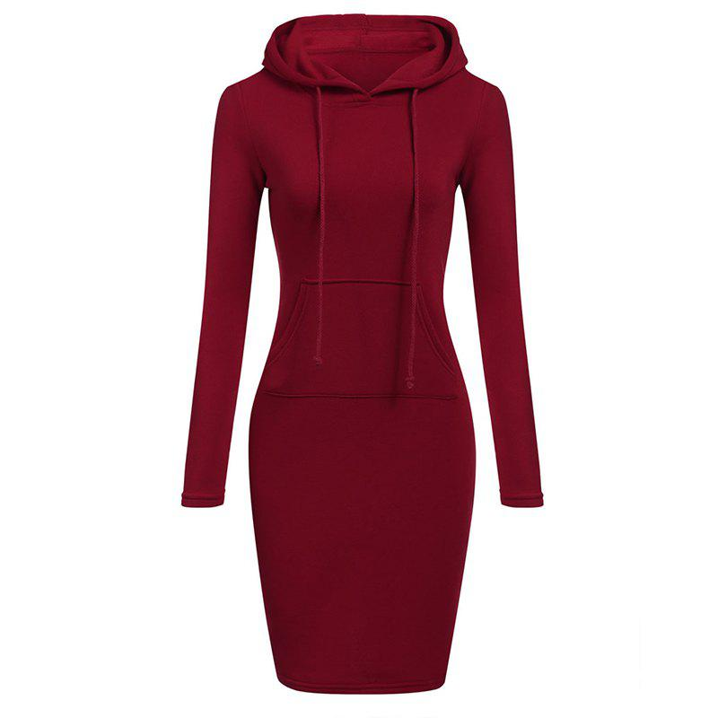 Femmes Mode Solide Couleur Pocket Long Hoodie - Rouge 2XL