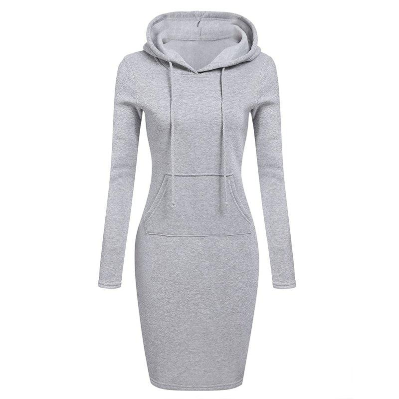 Femmes Mode Solide Couleur Pocket Long Hoodie - gris M