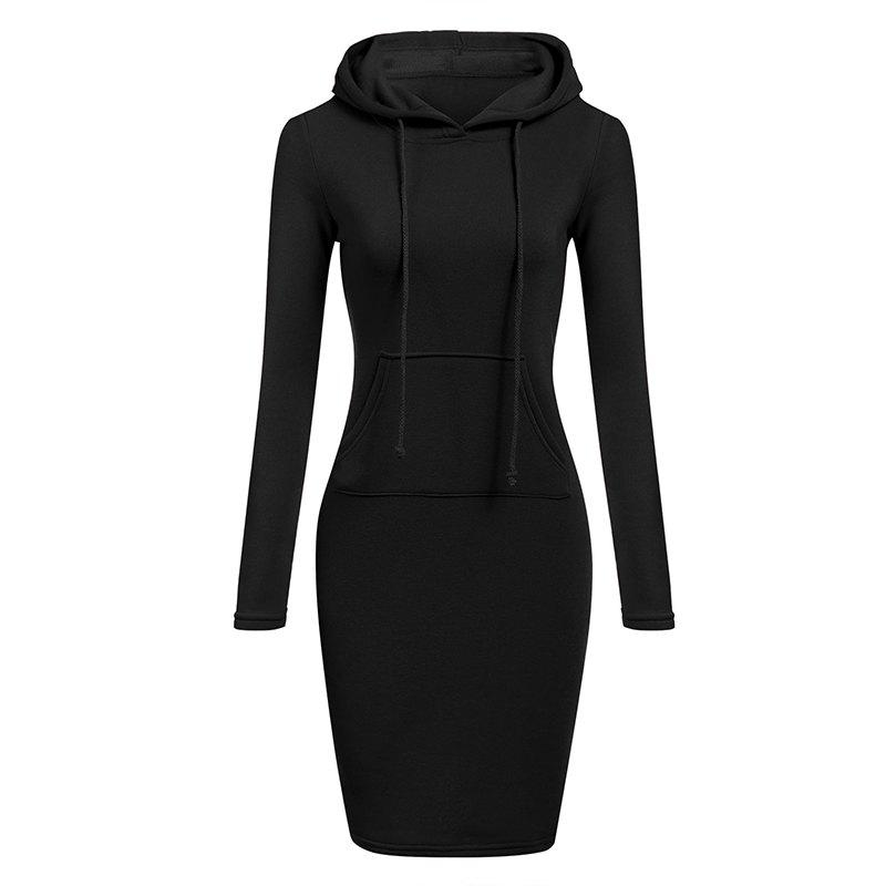 Women's Fashion Solid Color Pocket Long Hoodie - BLACK M