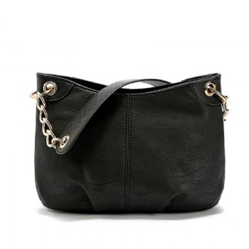 New Designer Women PU Leather Steel Chain Shoulder Bag Luxury Handbags Lady Bags Female Tote - BLACK BLACK