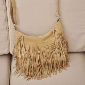 Faux Suede Tassel Handbag Women Sling Shoulder Bags Ladies Crossbody Messenger Bag Handbag Shopping Office Beach Bag - APRICOT