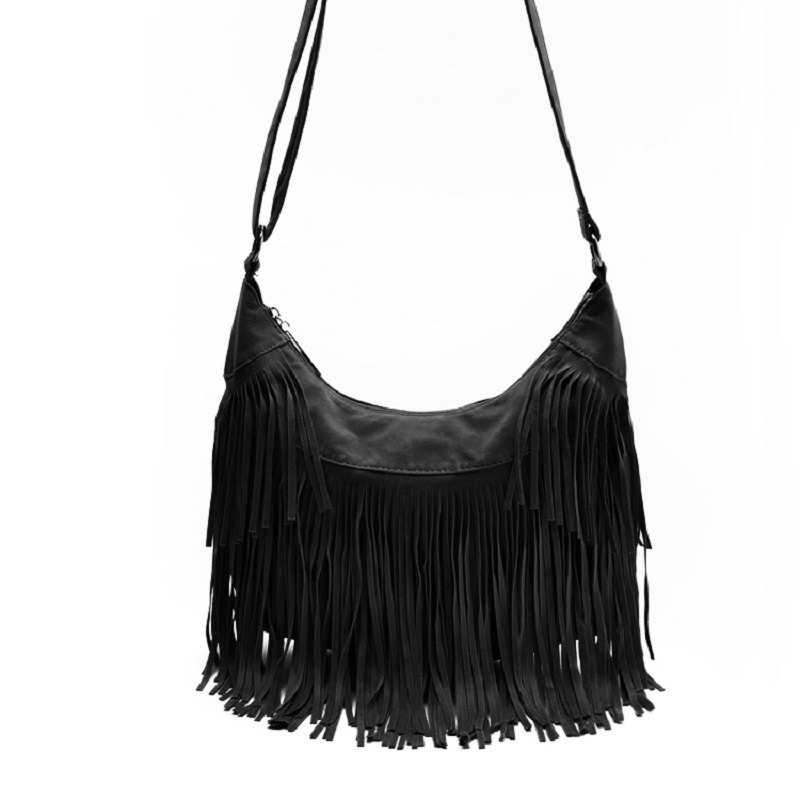 Faux Suede Tassel Handbag Women Sling Shoulder Bags Ladies Crossbody Messenger Bag Handbag Shopping Office Beach Bag - BLACK