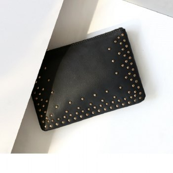 Rivet Clucth Bag Women PU leather purse Make Up Bags wallet - BLACK