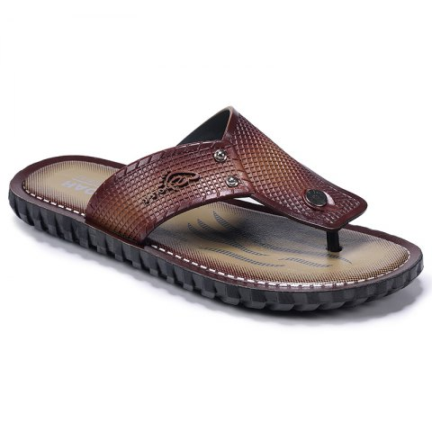 Wine Red Men Flip-flops - TAN 44