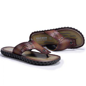 Wine Red Men Flip-flops - TAN 42