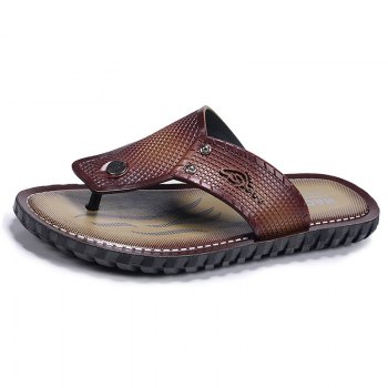 Wine Red Men Flip-flops - TAN 40