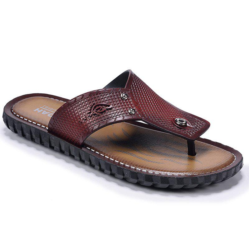Wine Red Men Flip-flops - WINE RED 44