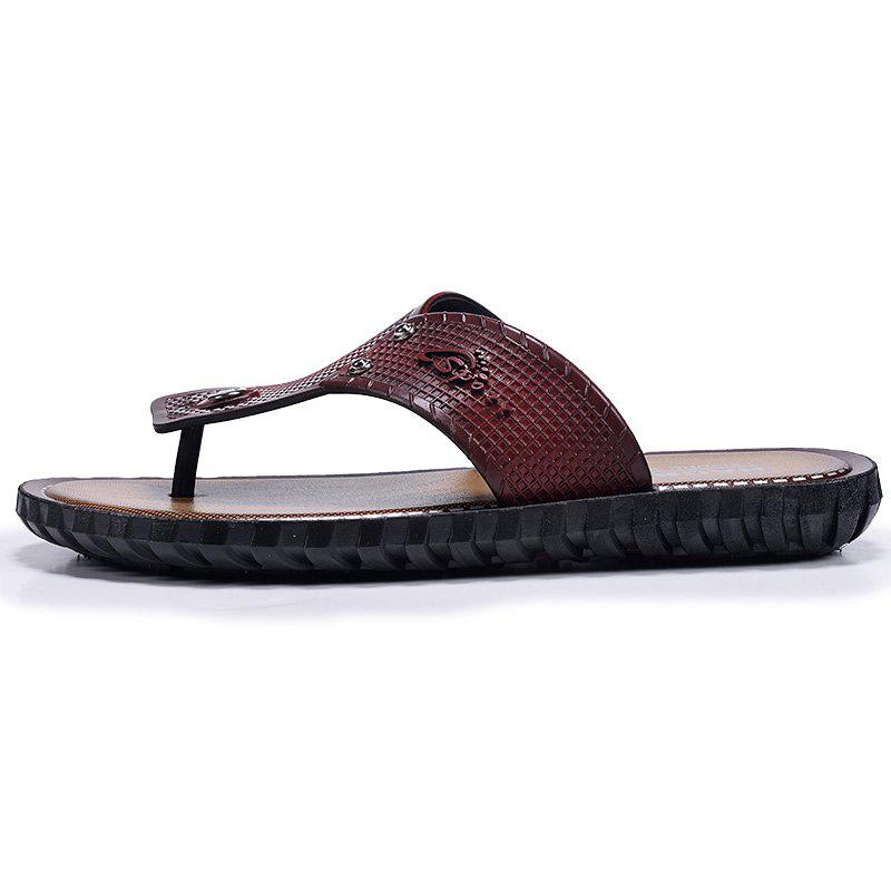 Wine Red Men Flip-flops - WINE RED 43