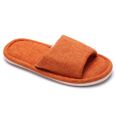 Linen Cotton Simple Household Lovers Slippers - ORANGE 38
