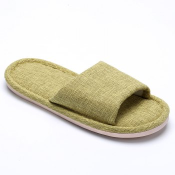 Linen Cotton Simple Household Lovers Slippers - LIGHT GREEN LIGHT GREEN