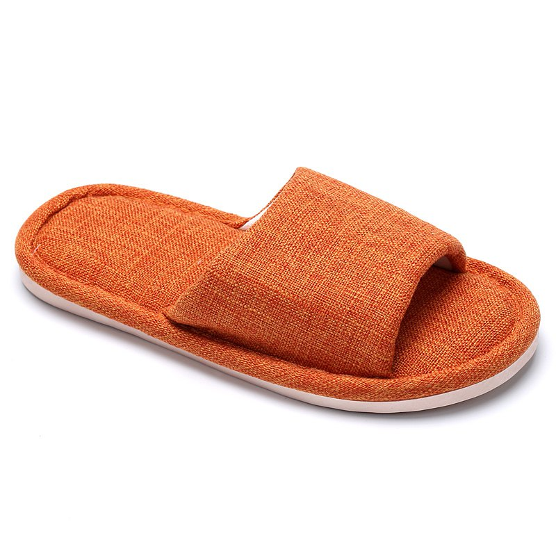 Linen Cotton Simple Household Lovers Slippers - ORANGE 40