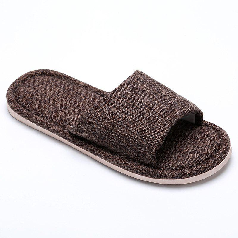 Linen Cotton Simple Household Lovers Slippers - MOCHA 43