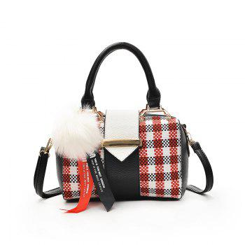 Fashion All Match Simple Plaid messenger Bag with Venonat Pendant - RED RED