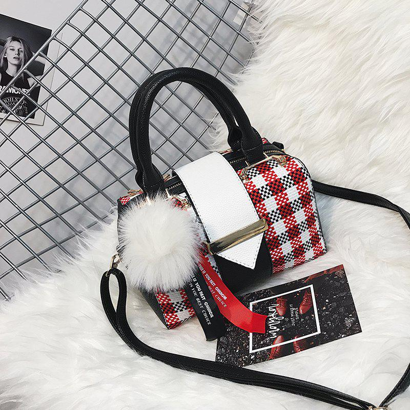 Fashion All Match Simple Plaid messenger Bag with Venonat Pendant - RED