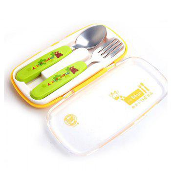 baby stainless steel anti-scalding spoons two-piece - GREEN GREEN