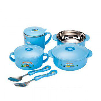 stainless steel tableware six sets gift boxed - BLUE BLUE
