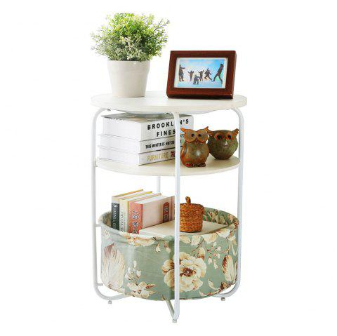 Round Wooden Side Table/End Table,3 Tiers With a Book Storage Canvas Basket Bag(Green) - GREEN 1PC