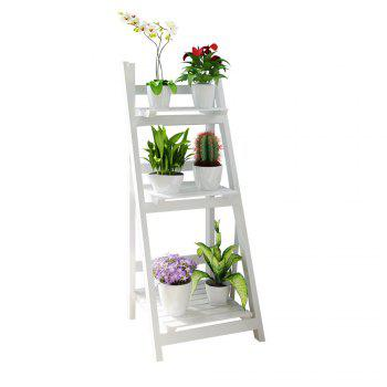 Foldable Plant Stand Flower Ladder Rack, Solid Wood (3-Tier) - WHITE WHITE