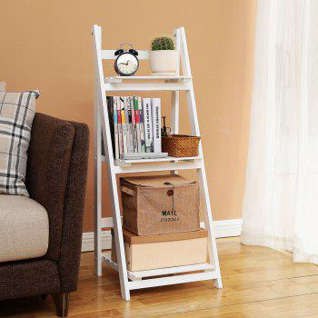 Foldable Plant Stand Flower Ladder Rack, Solid Wood (3-Tier) - WHITE 1PC