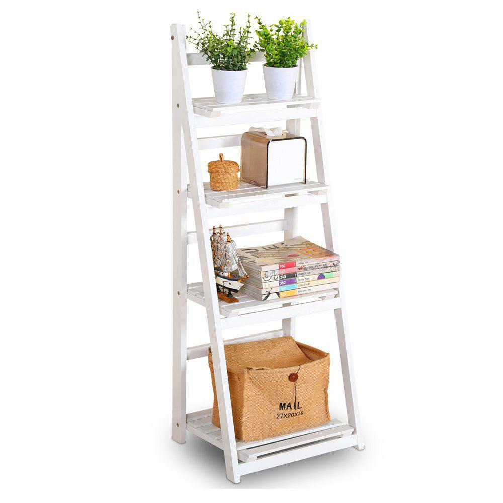 Foldable Plant Stand Flower Ladder Rack, Solid Wood (4-Tier) - WHITE 1PC