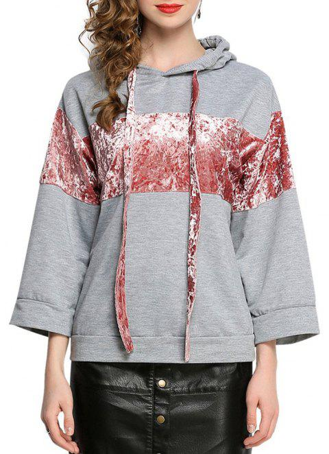Casual Patched Flare Hoodie Long Sleeve Loose Women's Top - GRAY 2XL