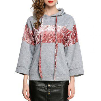Casual Patched Flare Hoodie Long Sleeve Loose Women's Top - GRAY GRAY