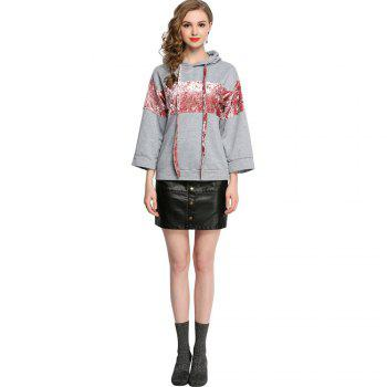 Casual Patched Flare Hoodie Long Sleeve Loose Women's Top - GRAY 3XL