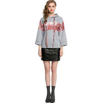 Casual Patched Flare Hoodie Long Sleeve Loose Women's Top - GRAY L