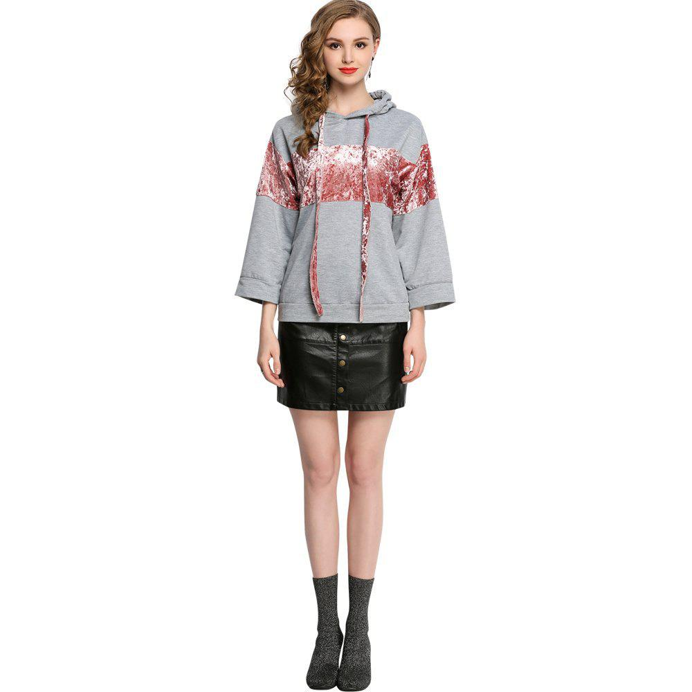 Casual Patched Flare Hoodie Long Sleeve Loose Women's Top - GRAY XL