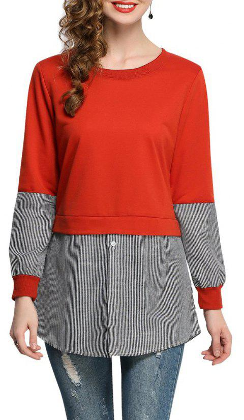 Women Casual Patchwork Sweatshirt Long Sleeve Loose - ORANGE XL