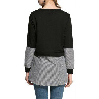 Women Casual Patchwork Sweatshirt Long Sleeve Loose - BLACK 2XL