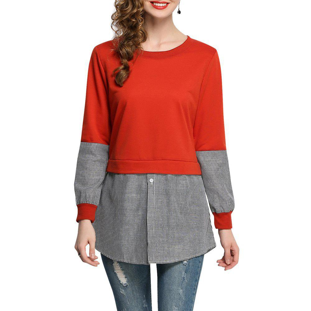 Women Casual Patchwork Sweatshirt Long Sleeve Loose - ORANGE L