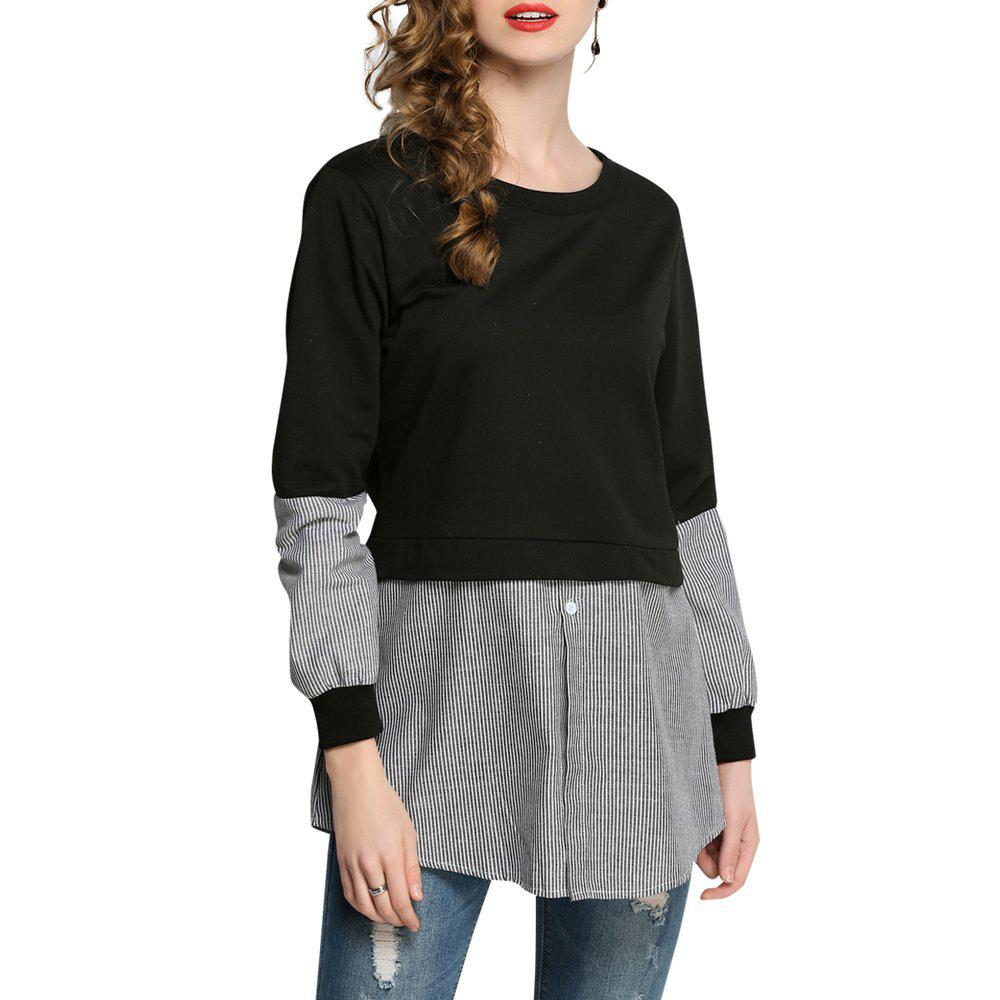 Women Casual Patchwork Sweatshirt Long Sleeve Loose - BLACK L
