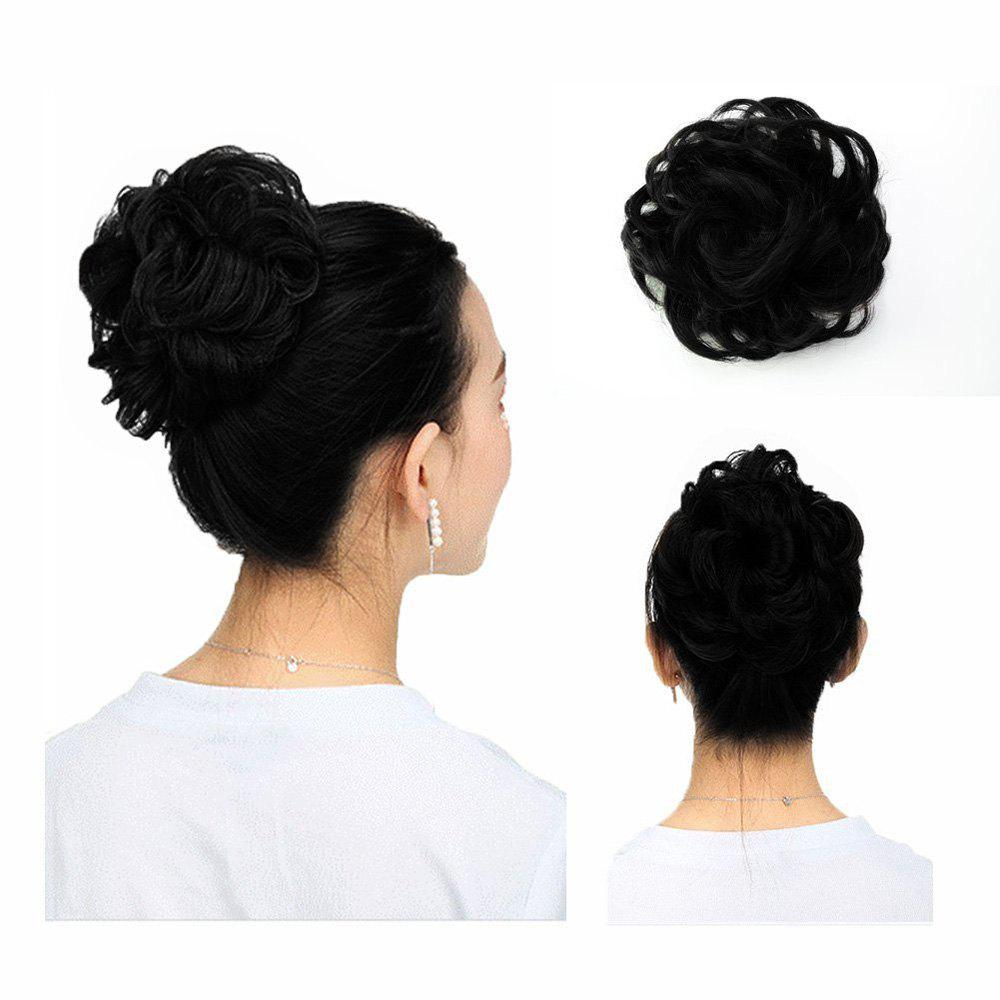100 Percent Human Hair Scrunchy Scrunchie Bun Up Do Hair Piece Hair Ribbon Extensions - BLACK 1PC