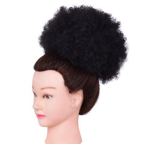 Afro Kinky Curly Synthetic Hair Bun Extension Chignon Hairpieces Wig for American Black Women - BLACK 1PC