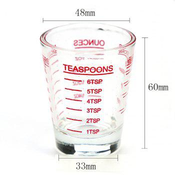 Small Measure Multi-Purpose Liquid and Dry Measuring Shot Glass Heavy Glass Wine Measuring Cups - RED