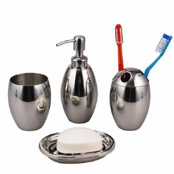 Polished Stainless Steel Refillable Splendid Bathroom Accessory Set Oval - SILVER SILVER