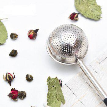 Stainless Steel Tea Strainer Creative Drainer Net With Handle Tea Ball Infuser Filter Spoon - SILVER