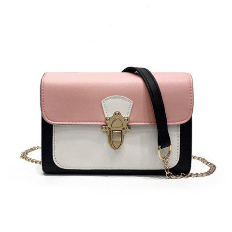 Simple New Joker Chain Bag Contrast Color Cross-body Bag - PINK