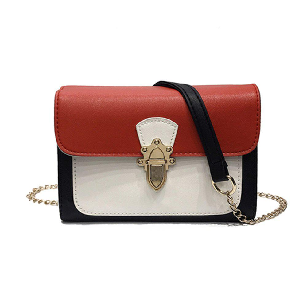 Simple New Joker Chain Bag Contrast Color Cross-body Bag - RED