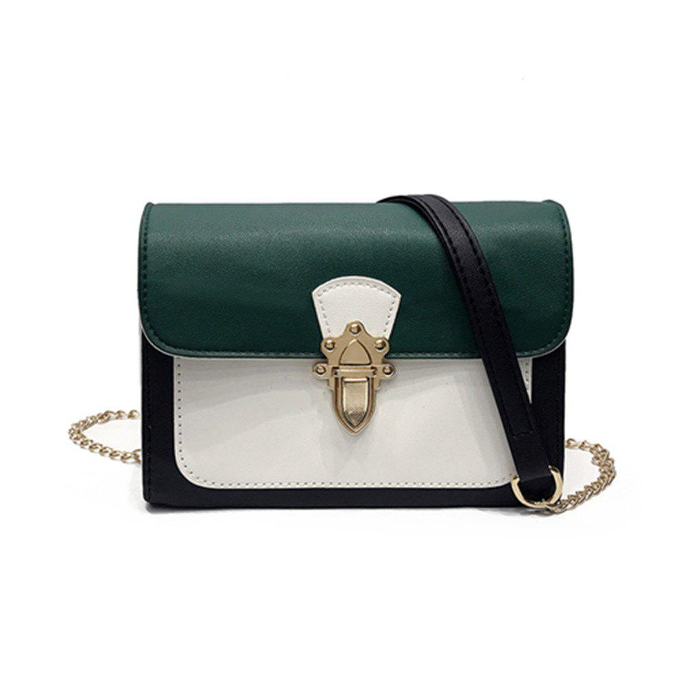Simple New Joker Chain Bag Contrast Color Cross-body Bag - GREEN