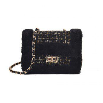 New Wild Chain Woolen Shoulder Messenger Bag Plush Bag - BLACK BLACK