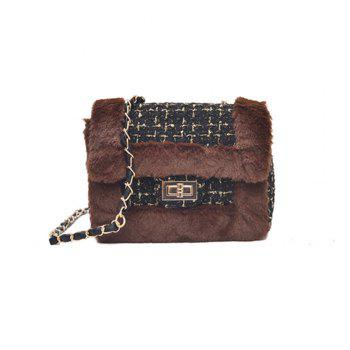 New Wild Chain Woolen Shoulder Messenger Bag Plush Bag - DEEP BROWN DEEP BROWN