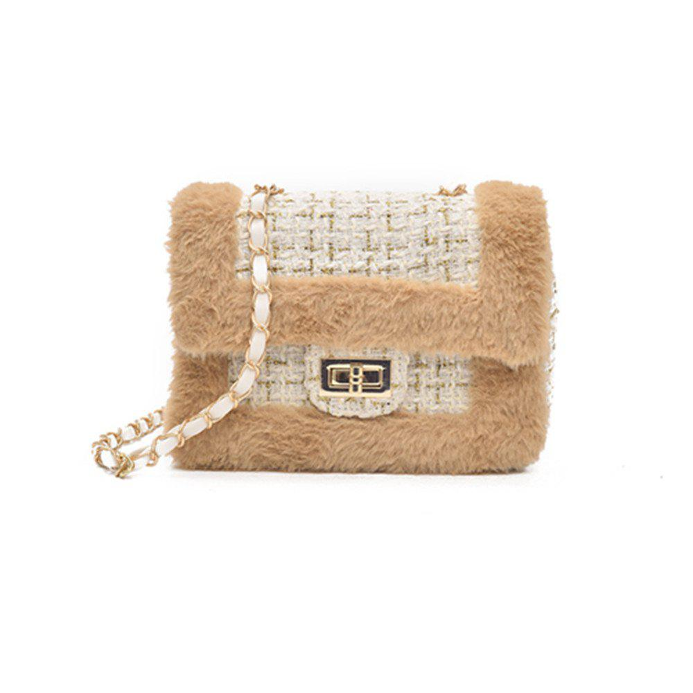 New Wild Chain Woolen Shoulder Messenger Bag Plush Bag - BEIGE