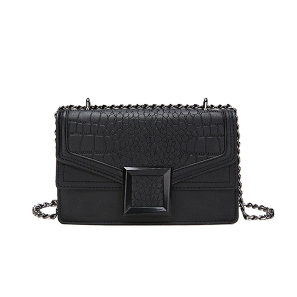 Nouveau Mode Sac à main Simple Crocodile Motif Sac Messenger - Noir