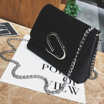 New Shoulder Messenger Bag Velvet Chain Small Square Package - BLACK