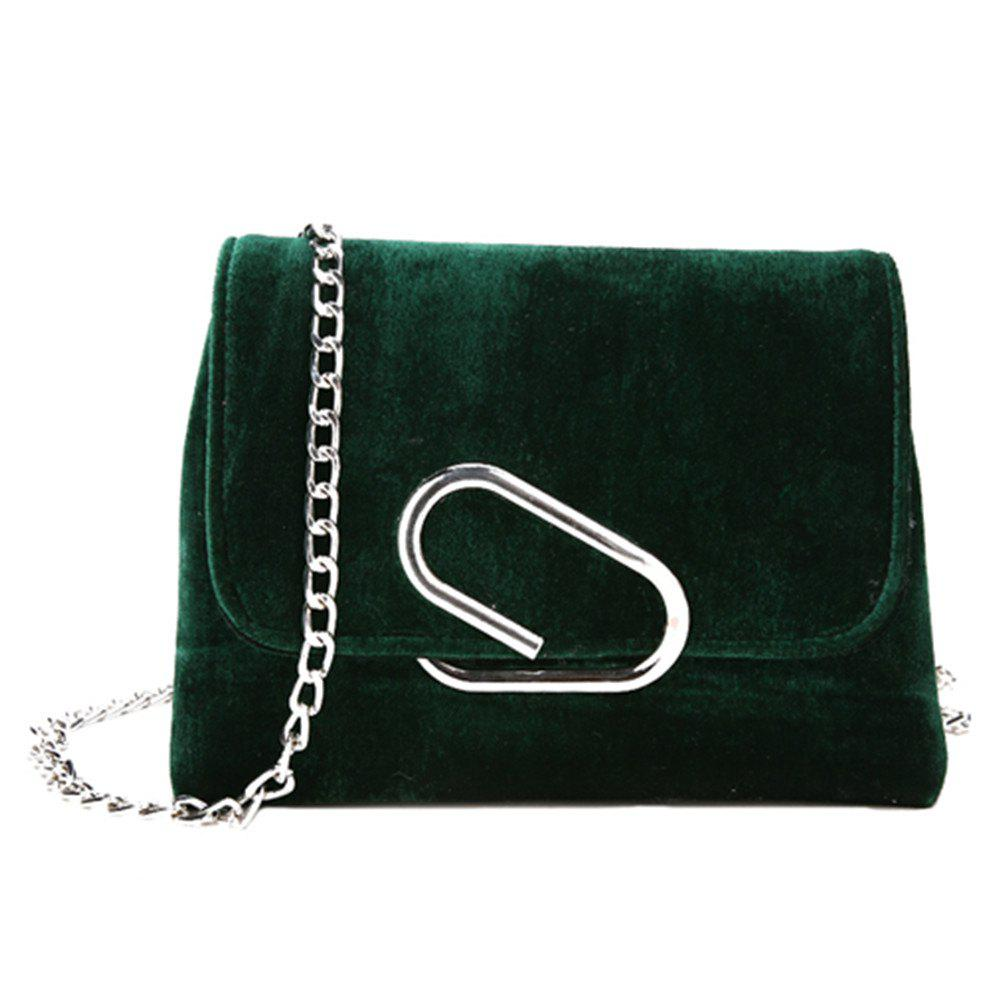 New Shoulder Messenger Bag Velvet Chain Small Square Package - DARK GREEN