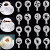 16 Pcs Set New Creative Plastic Garland Mold Fancy Coffee Printing Model Thick Coffee Foam Spray Template - TRANSPARENT